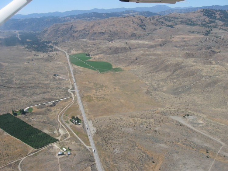Photo taken from air looking south at critical crossing locations along Highway 97 in the project area.